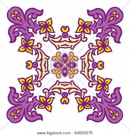 Hand Drawing Zentangle Mandala Color Element. Italian Majolica Style
