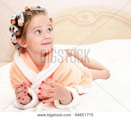 Happy Funny Little Girl With Manicure