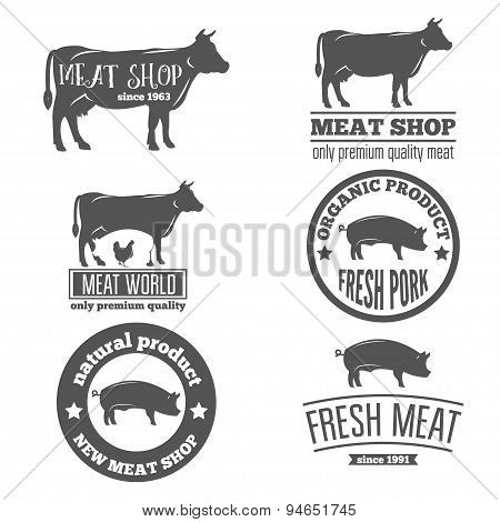 Set of vintage labels, logo, emblem templates for butchery meat shop