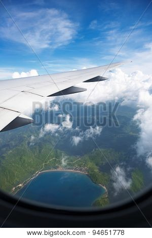 very nice view from airplane window, view of the bay
