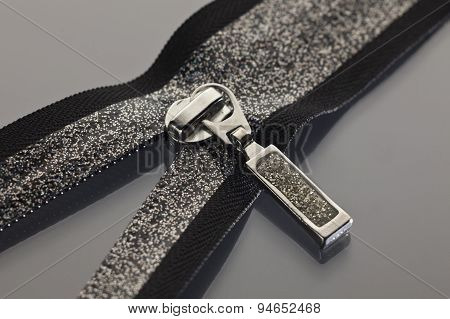 Black Zipper Decorated With Brocade