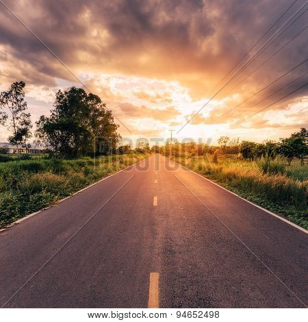 Country Road And Field With Beautiful Sunset Vintage