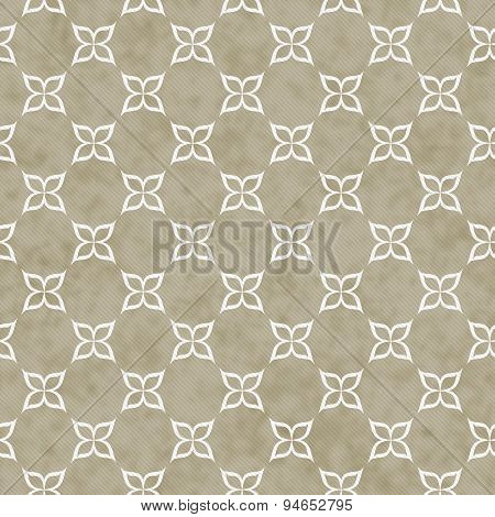Brown And White Flower Symbol Tile Pattern Repeat Background