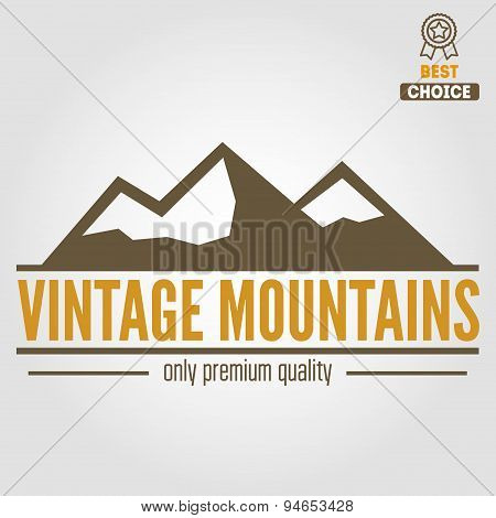 Vintage logo, emblem, label, print or logotype elements with mountains