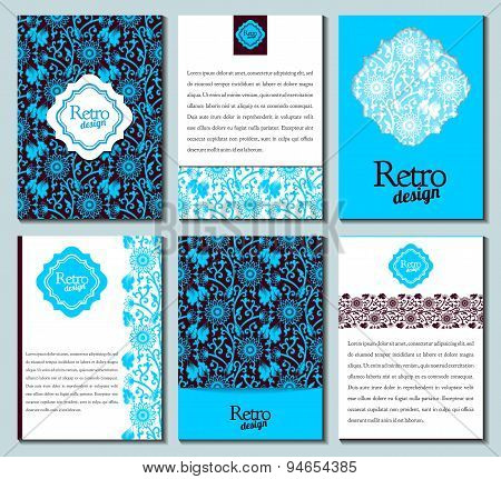 Set of brochures in retro style. Vector brochure booklet cover