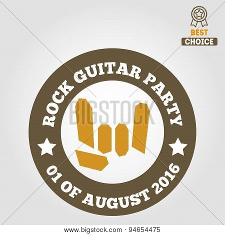 Vintage logo, badge, emblem or logotype elements for musical performance, rock festival and guitar p