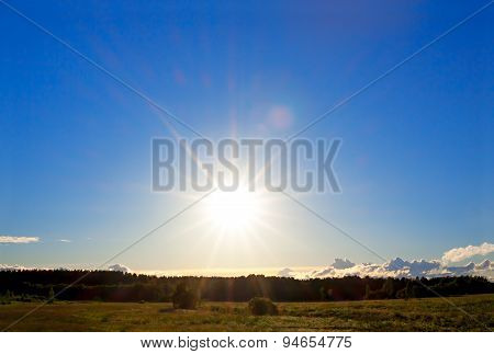 Landscape With The Blue Sky On Sunset
