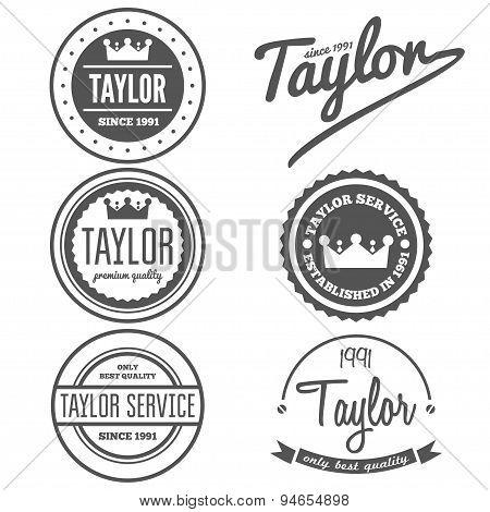 Set of vintage logo, badge, emblem or logotype elements for taylor