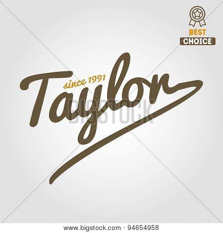 Vintage logo, badge, emblem or logotype elements for taylor