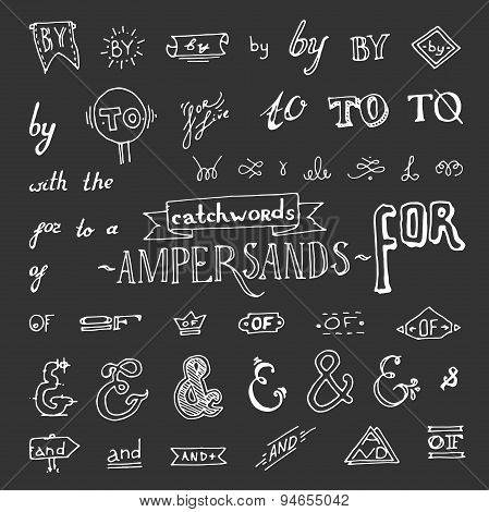 set of chalkboard style ampersands