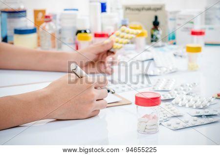 medicine in a container