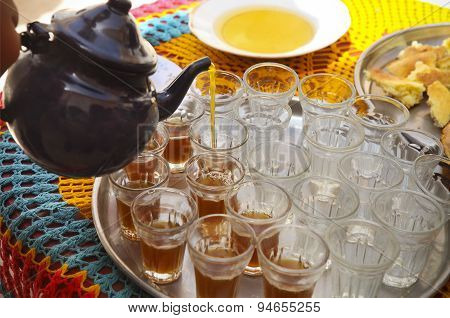 Hot Tunisian Tea On The Tray In The Cafe