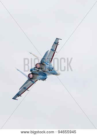 Powerful Su-27 Aircraft In Flight