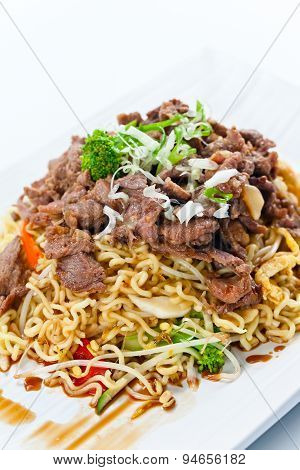 Stewed  Meat With Noodles.  Korean Cuisine.