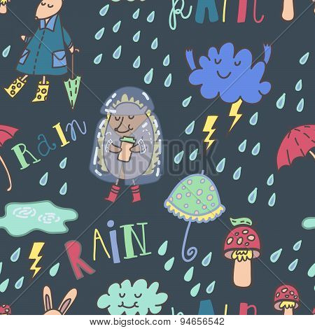 Summer rain seamless vector pattern