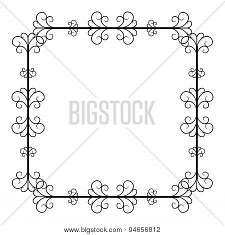 black and white vintage square frame on white background
