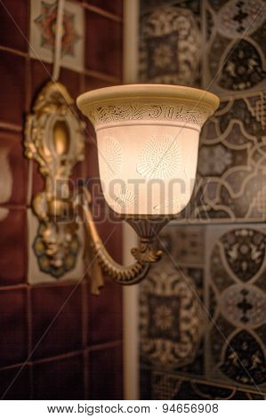 Vintage lamp in boho style