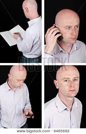 Portrait Middle Age Businessman Working On Black