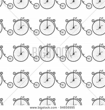 black and white pattern of vintage bicycles