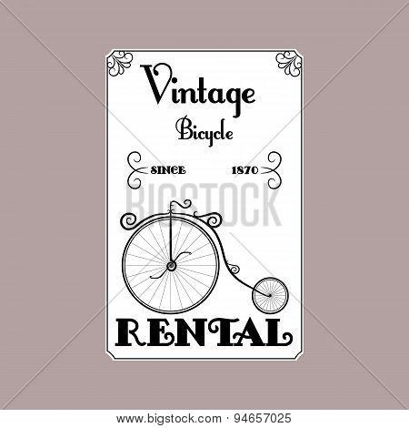Rental Bicycle vintage black and white poster