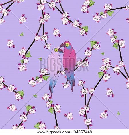 Seamless pattern with two colourful parrot