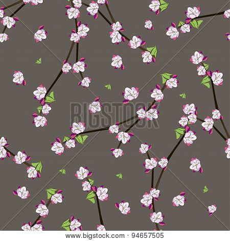 Seamless pattern with blooming apple twigs