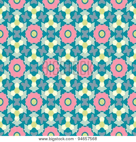 Abstract Geometric Seamless Pattern With Pink Flowers