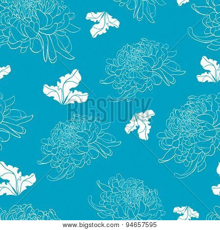 Floral Seamless Pattern With Chrysanthemum On Light Blue Background
