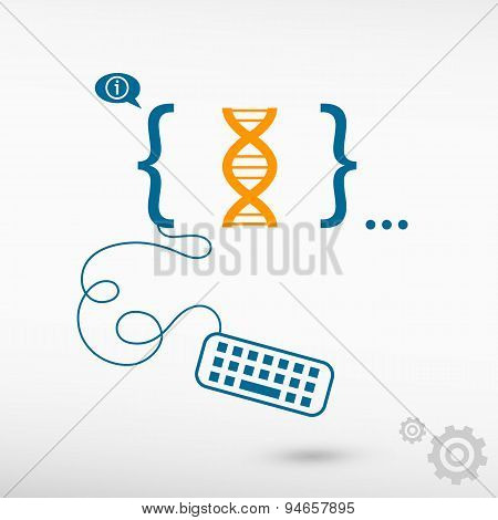 Dna Icon And Flat Design Elements