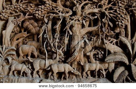 Public Hand Carved deer Wood Craft at the temple