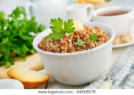 Buckwheat porridge with butter and herbs