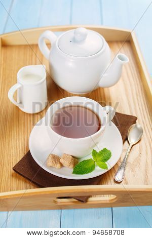 Morning tea with cream and mint.