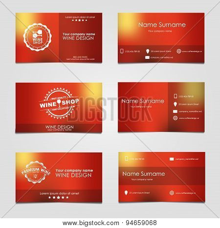 Set Of Business Cards For Wine