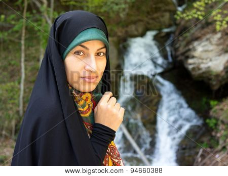 Beautiful Muslim woman with chador