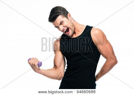 Fitness man working out with small dumbbells isolated on a white background