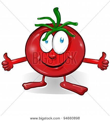 Fun Tomato Cartoon Isolated On White Background