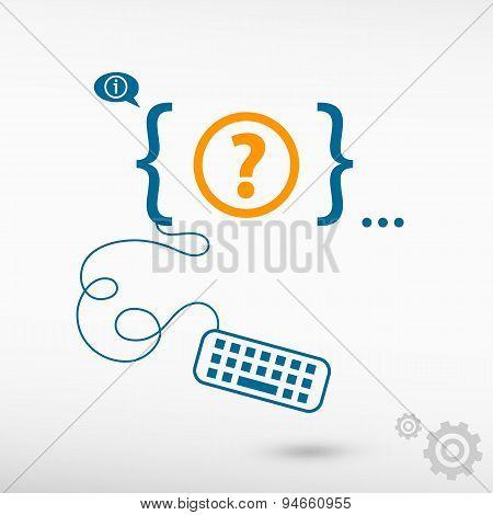 Question Mark. Help Symbol And Flat Design Elements