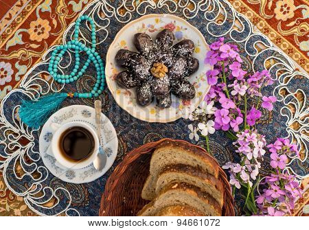 Food on decorated table