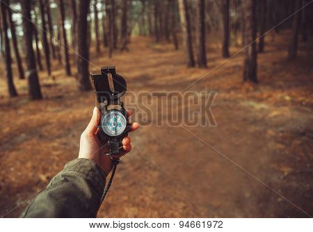 Pov Of Hand With A Compass