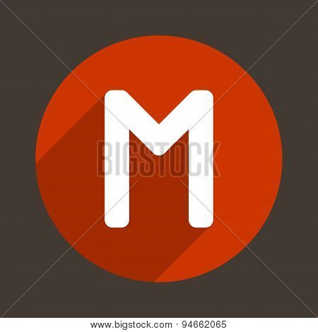 Letter M Logo Flat Icon Style. Vector