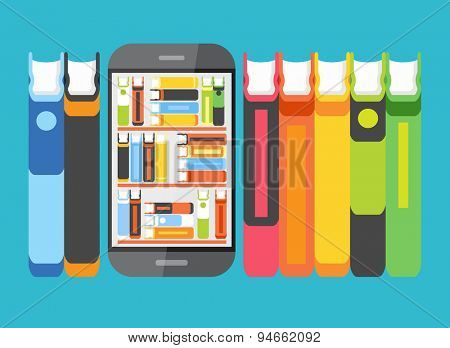 Concept education . Telephone with books on screen surrounded by other books. Concept of e-learning. The idea of education in the Internet. This illustration contains transparency