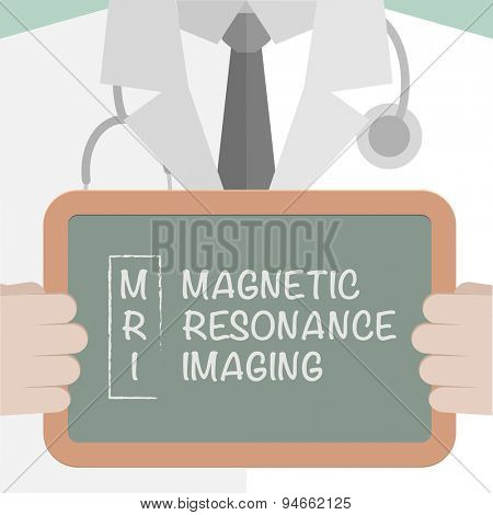 minimalistic illustration of a doctor holding a blackboard with MRI term explanation, eps10 vector