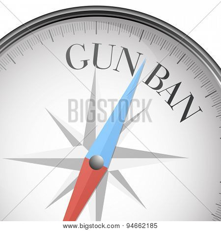detailed illustration of a compass with gun ban text, eps10 vector