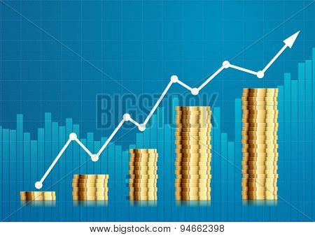illustration of coin stacks in front of a stock performing chart, eps10 vector