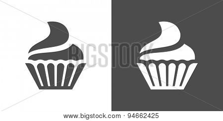 Cupcake icon. Two-tone version of cupcake vector icon on white and black background. Small cake designed to serve one person.
