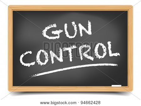 detailed illustration of a blackboard with Gun Control text, eps10 vector, gradient mesh included