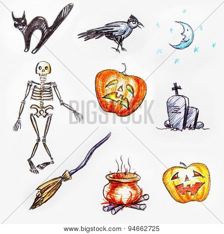 Hand pictured Halloween objects