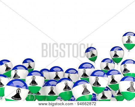 Flying Balloons With Flag Of Lesotho