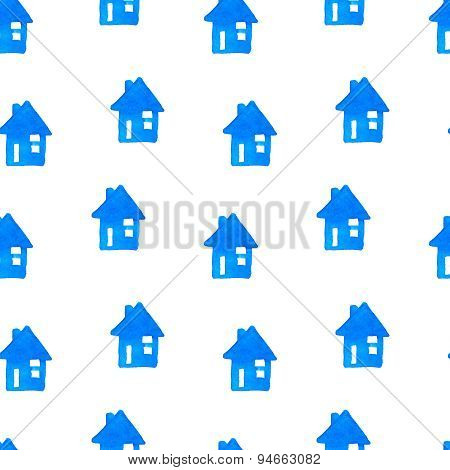 Vector watercolor seamless pattern with hand drawn houses. Ornament with handdrawn buildings.