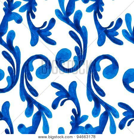 Vector watercolor seamless pattern with hand drawn swirl elements. Elegant ornament.